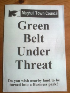 The leaflet that the then Lib Dem run Maghull Town Council delivered to all households in the Town in 1998. That  battle for the Green Belt was won.