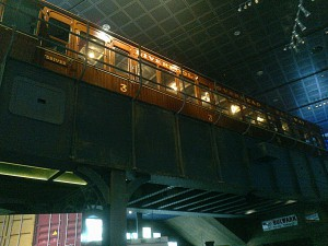 The Overhead Railway motorcoach displayed at the height it ran at until the 1950's when it sadly closed.