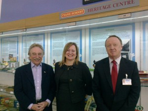 Les French (Chairman of the Frank Hornby Trust) with Margaret Carney & Glyn Sands in the Hornby Room at the Leisure Centre.