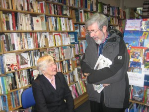 Former Cllr. Anthony Hill in Crosby's Pritchard's Bookshop with Shirley in 2009