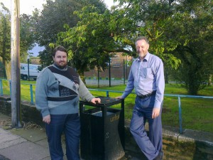 This photo is from August 2012 when both I and Andrew Blackburn were both Borough Councillors for Lydiate and we had a new bin installed outside the School to try to get the few dog walkers that are the cause of the problems to use a bin for their dog muck.