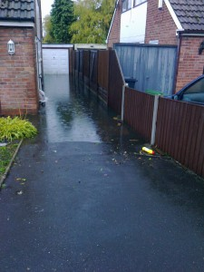 Flooding between two houses in Fouracres