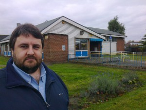 Cllr. Andrew Blackburn outside Aintree Library
