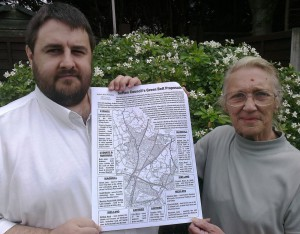 Lib Dem Cllrs. Andrew Blackburn and Robbie Fenton with our March 2011 East Parishes map which informed the community which Green Belt sites were being looked at by Sefton Council for development.