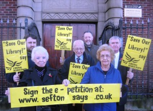 This was our Lib Dem Team campaigning outside Litherland Library earlier this year