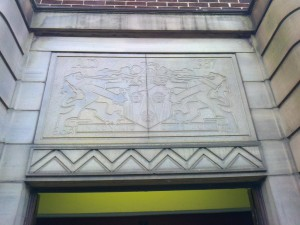 Carved stone above the door to Litherland Library