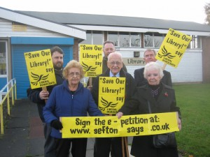 Lib Dem campaigners fighting Labour's library axe in 2013