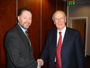 Shaking the hand of the man who gave Blair a lot of grief over the Iraq war