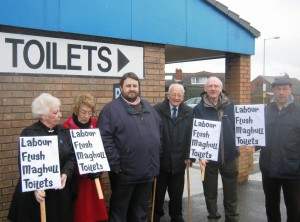 Maghull's Lib Dem  toilet campaigners fighting Labour's axe.