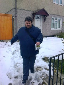 Cllr. Andrew Blackburn campaigning in Prescot in the ice and snow