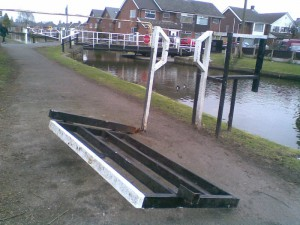 The remains of a broken motorbike barrier (now removed) near Green Lane, Maghull