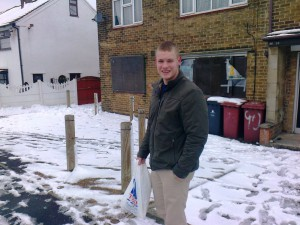 Election candidate Carl Cashman braving the wild winter conditions a while back.