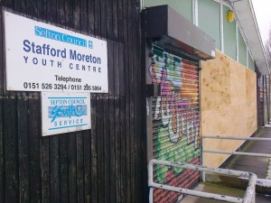Maghull's former Stafford Moreton Youth  Centre boarded up.