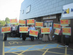 Green Belt campaigners outside Maghull Town Hall at a previous meeting.