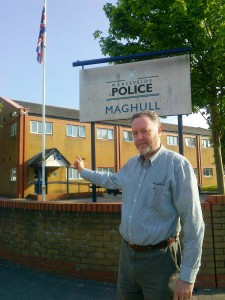 Here I am at Maghull Police Station where the Neighbourhood Policing Team must have had a tough time during Mad March.