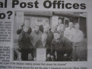 Lib Dem campaigners fighting to save 4 Post Offices from Labour's axe some 10 years ago. No Labour protestors here; they stayed at home and let the closures happen!