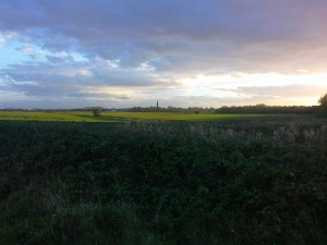 A late afternoon shot of St Helens Church Sefton looking towards Crosby from the River Alt