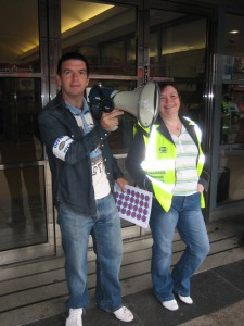 Frank with Jackie McWilliams taking part in a PCS Trade Union protest outside the Triad building in Bootle.