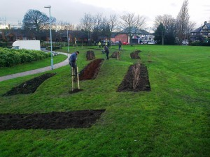 The planting beds being worked on 18th December