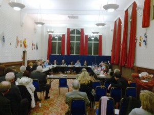 Sefton's Scrutiny Committee in session at Bootle Town Hall on 17th December 2013. The room is very large and the alleged clashes happened behind where this shot was taken from.
