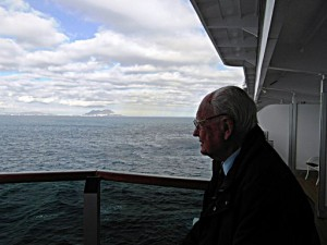 Charles looking back on Gibraltar (in the distance) from the cruise ship Victoria a couple of years ago. Charles was based in Gib' (RAF) during part of the WW2.