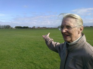 Lydiate Lib Dem Parish Councillor Robbie Fenton at Sandy Lane Playing Field saying no to the Parish Council's land being built upon.