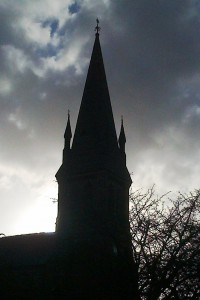 A chance shot of the winter sun putting Christ Church Bootle in silhouette