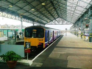 A train at Southport Station bound for Manchester
