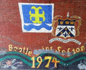 This wall art is on a former railway now pedestrian tunnel behind Bootle's New Strand Shopping Centre. Sadly it has gained a little unwanted graffiti.