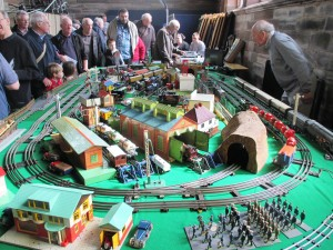 Dave Howel  (the chap on the right of the photo) displays his historic Hornby tinplate collection at Christ Church, Waterloo not so long ago.