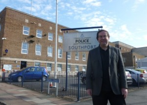 Cllr. Simon Shaw outside Southport Police Station