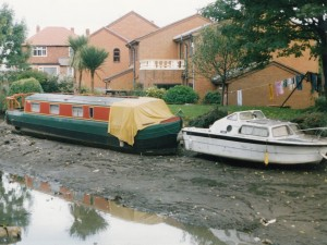 Grounded canal boats