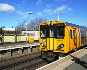 A Merseyrail electric unit at Bootle New Strand Station