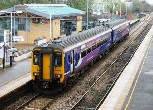 A Southport bound Class 156 DMU at Burscough Bridge Station on the Southport - Wigan - Manchester Line.