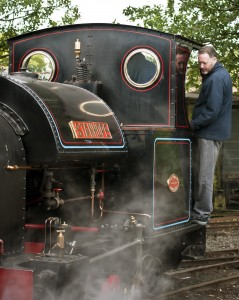 Me on the footplate of the steam engine 'Stanhope'