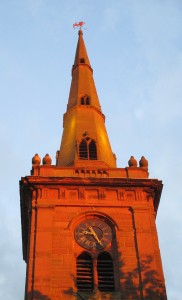 The steeple of Prescot Parish Church as the sun was going down. I just managed to keep the scaffolding out of the shot.