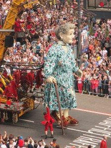 Giant Grandmother on her last walk about before leaving Liverpool.