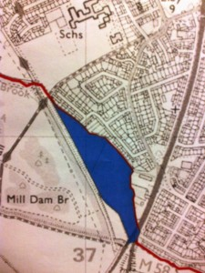 The site is behind The Crescent and Fouracres and it is not actually in Maghull but in Sefton Civil Parish. The red line in this case is the boundary between Maghull & Sefton Civil Parishes.