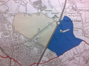 This shot shows the north eastern part of Lydiate and 3 massive development sites