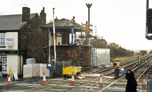 Maghull Signal Box being demolished - 1994