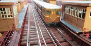 This OO scale layout was superb and took in the Herculaneum area of Liverpool including the old Overhead Railway depicted here