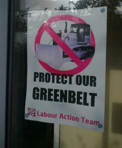 Labour poster displayed in Lydiate - October 2013 - how much must Labour be regretting put these posters up because they voted on Sefton Council to build on the Green Belt!