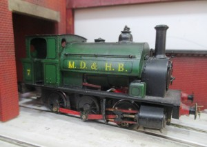 A Mersey Docks & Harbour Board 'Pug' steam engine in OO scale.
