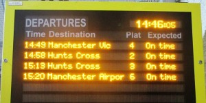 Departure board at Southport Station.