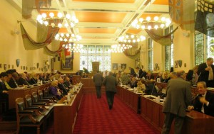Sefton Council about to set its 2015/16 budget at Bootle Town Hall - Thursday 5th March