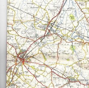 A 1958 map of part of the West Lancs area. The crossing of the Southport - Wigan and Ormskirk - Preston rail lines can be seen north-east of Burscough.