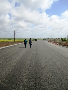 People walking the new road
