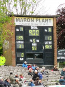 This score of 900 for Lancashire had the crowd laughing. The scorer had made a slight error it should have read 400.