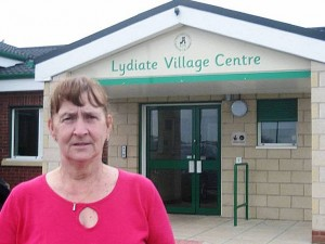 Cllr. Edie Pope outside Lydiate Village Centre