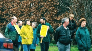 Cllr. Geoff Howe and a young me in this @2001 shot marching with Thornton residents. My placard says '83% of Thornton residents want a relief road'.